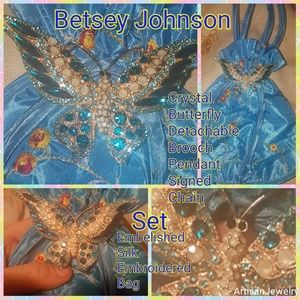 Betsey Johnson Bags - NWT Betsey Johnson Set Huge Butterfly Pin Silk Bag